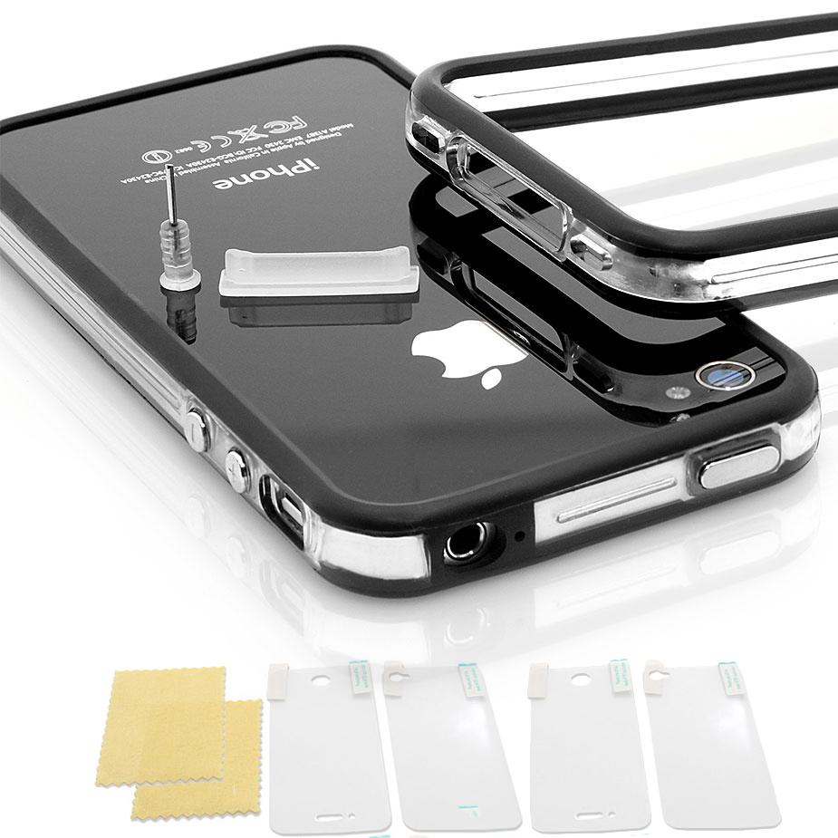 iPhone-4-4S-Schutz-Set-TPU-Huelle-Case-Tasche-Bumper-Design-transparent-schwarz