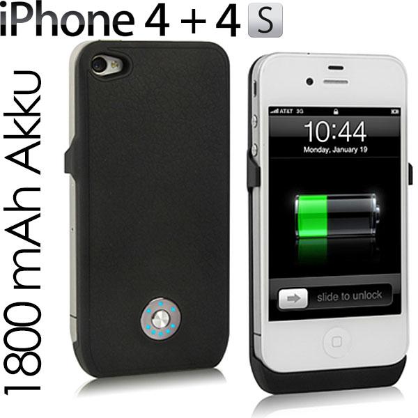 iPhone-4-4S-Power-Pack-Bank-Zusatzakku-Case-Huelle-externer-Akku-schwarz-Neu