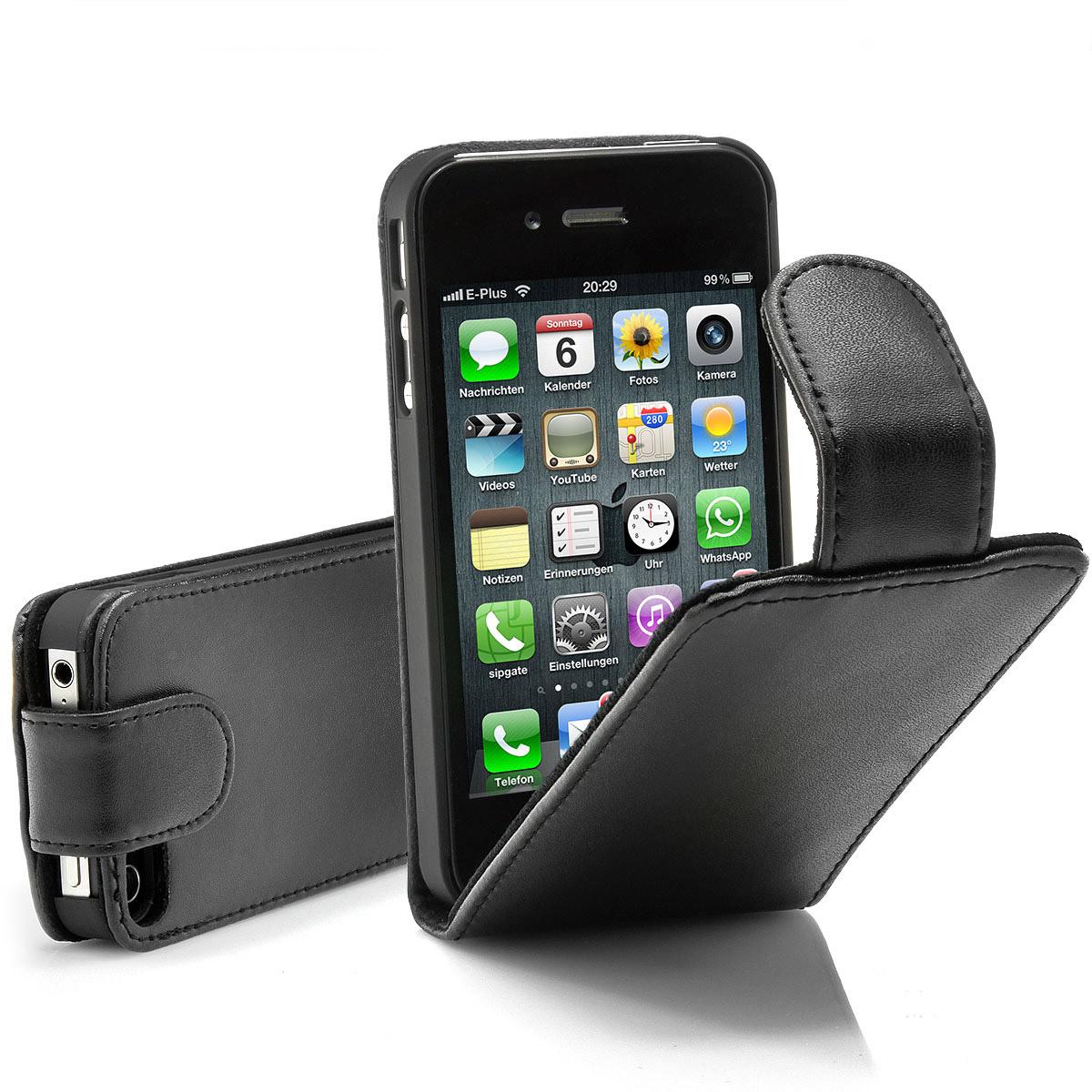 Apple-iPhone-4-4S-4G-Flip-Tasche-Schutz-Huelle-Cover-Flip-Case-Original-schwarz