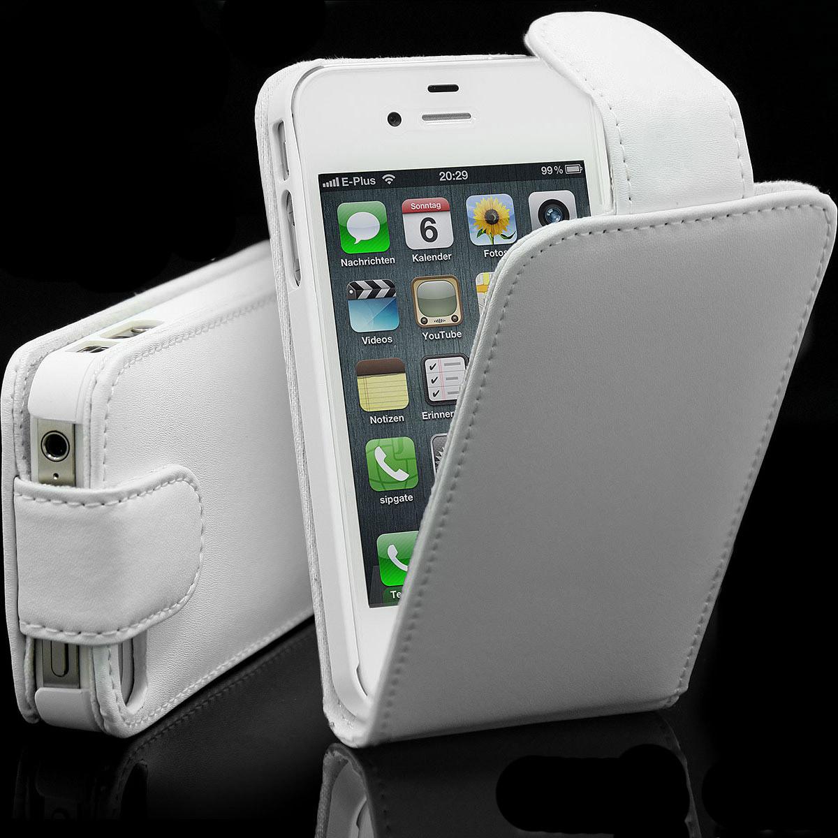 Fuer-Apple-iPhone-4-4S-4G-Flip-Tasche-Schutz-Huelle-Cover-Flip-Case-Original-weiss