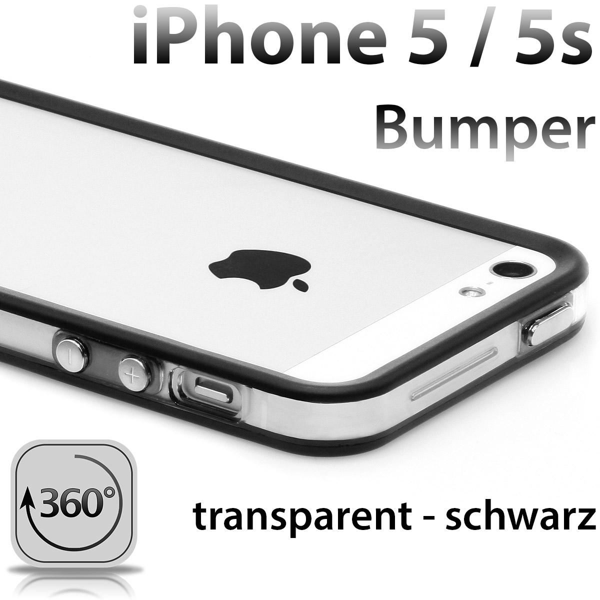 iPhone-5-TPU-Bumper-Silikon-Case-transparent-Huelle-Cover-Original-schwarz-NEU