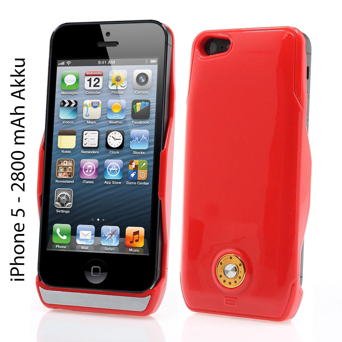 Apple-iPhone-5-Zusatzakku-2800-mAh-Power-Akku-Pack-Huelle-Cover-Case-rot