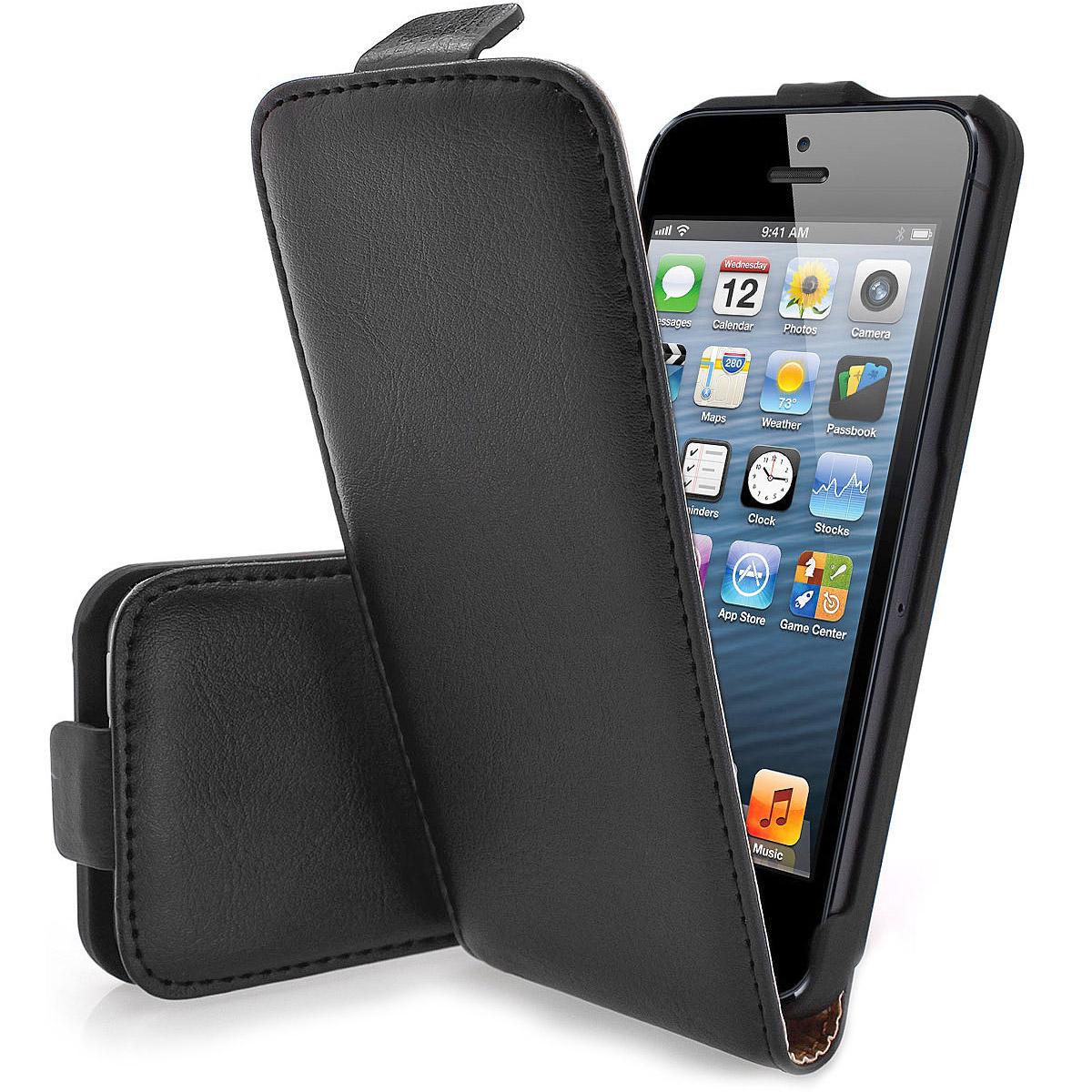 iPhone-5-Flip-Tasche-Flip-Case-Huelle-Schutz-inkl-Schutzfolie-schwarz