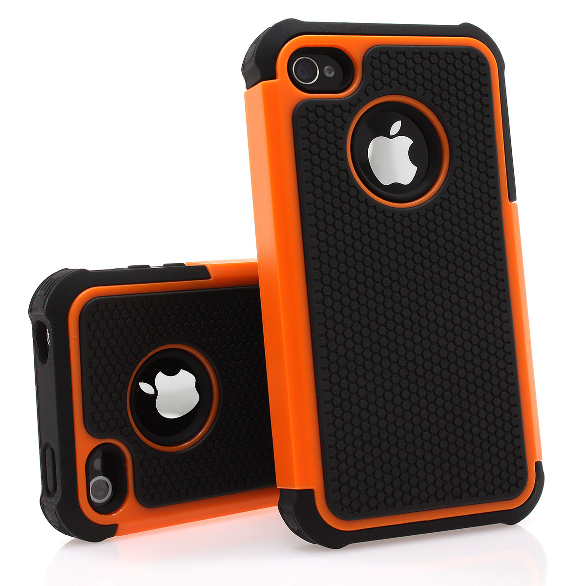 iPhone-4-4S-Bumper-Silikon-Case-Schutz-Huelle-Cover-Bumper-Outdoor-schwarz-orange