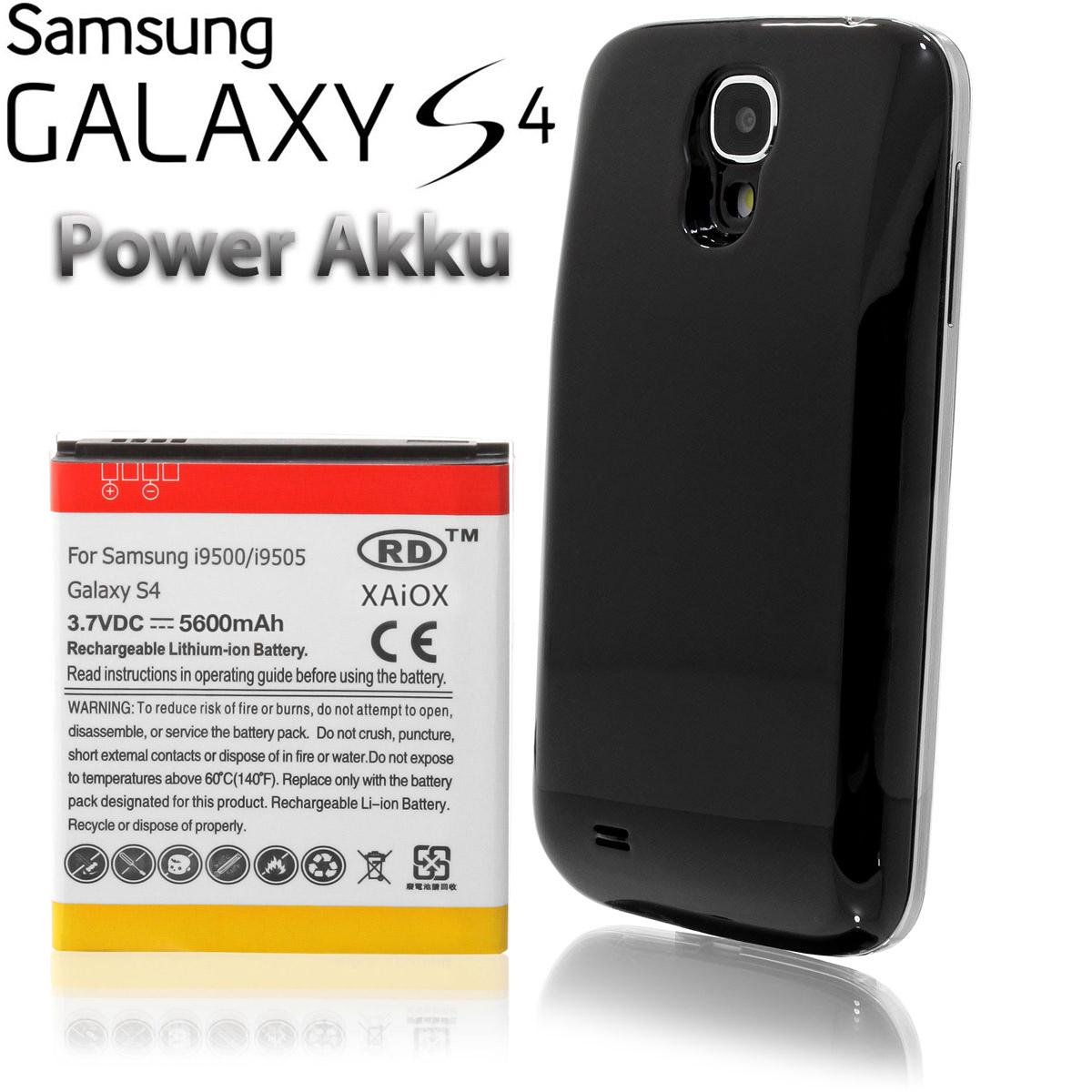 Samsung-Galaxy-S4-i9500-i9505-6200-mAh-Power-Akku-inkl-Akkudeckel-Case-schwar