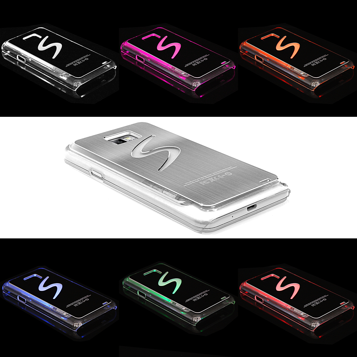 samsung galaxy s2 i9100 backcover handy h lle silber mit. Black Bedroom Furniture Sets. Home Design Ideas