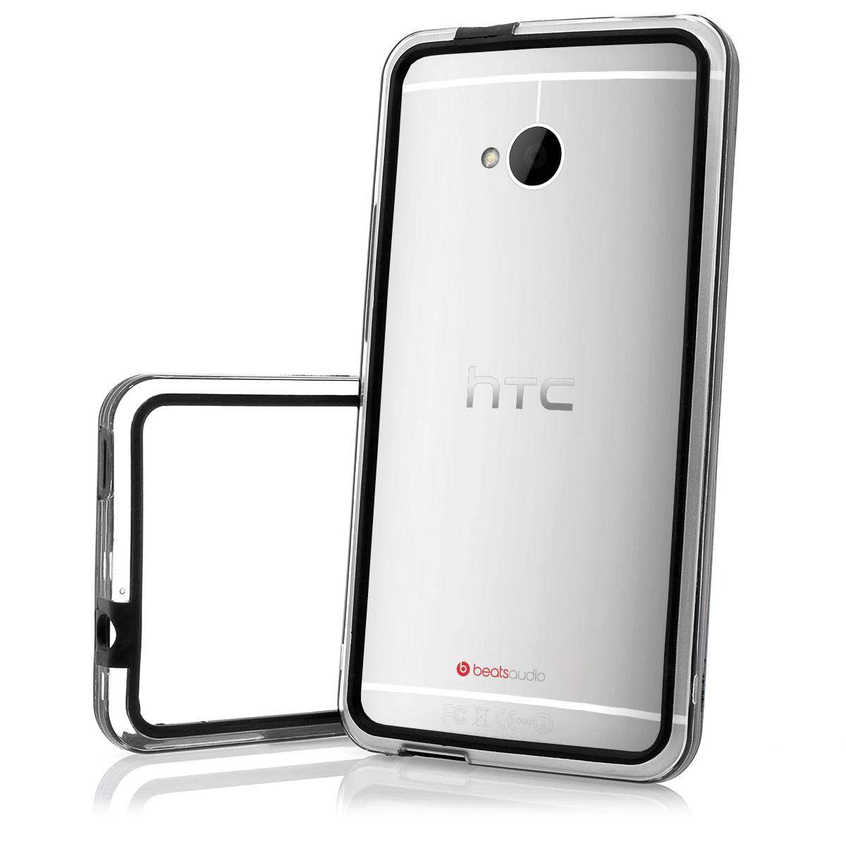 HTC-ONE-M7-TPU-Case-Handy-Tasche-Schutz-Huelle-in-schwarz-transparent