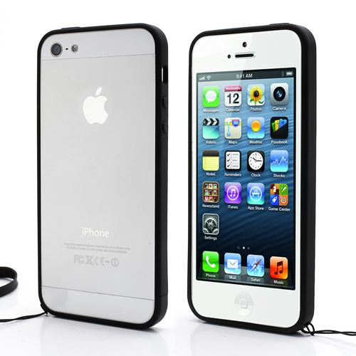 apple iphone 5s 5 tpu bumper case silikon h lle cover handschlaufe schwarz neu ebay. Black Bedroom Furniture Sets. Home Design Ideas