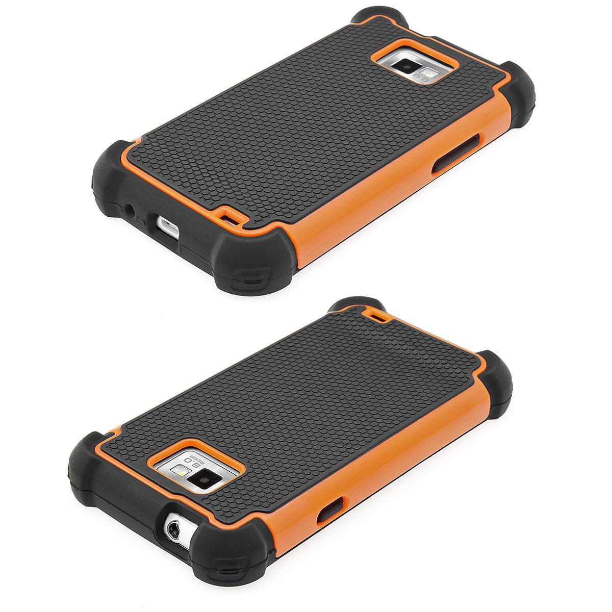 Samsung-Galaxy-S2-i9100-Outdoor-Bumper-Schutz-Huelle-Case-schwarz-orange