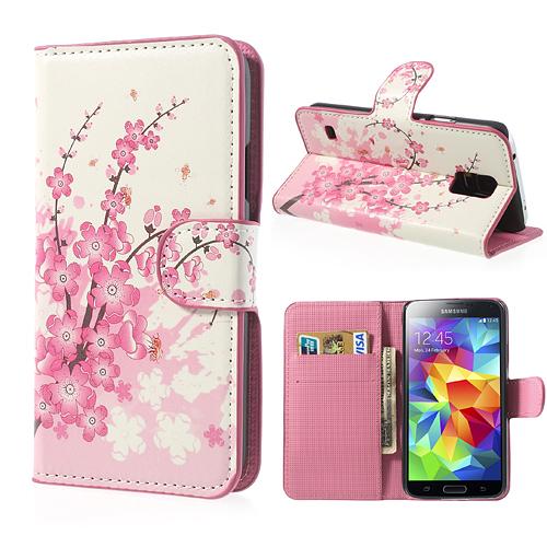 Samsung Galaxy S5 Handy Hülle Bumper Back Cover Etui LEDER-Imitat Flip Case