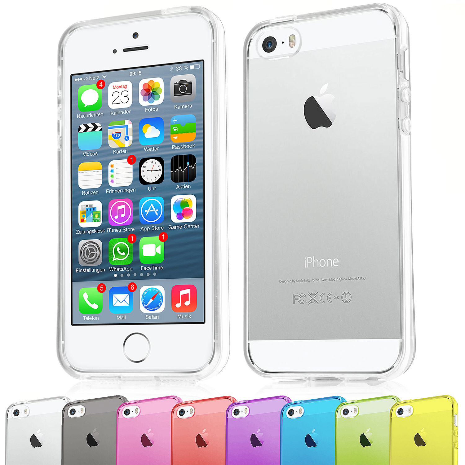 Apple-iPhone-4-4s-5-5s-TPU-Silikon-Schutz-Huelle-Bumper-Crystal-Case-Handy-Tasche