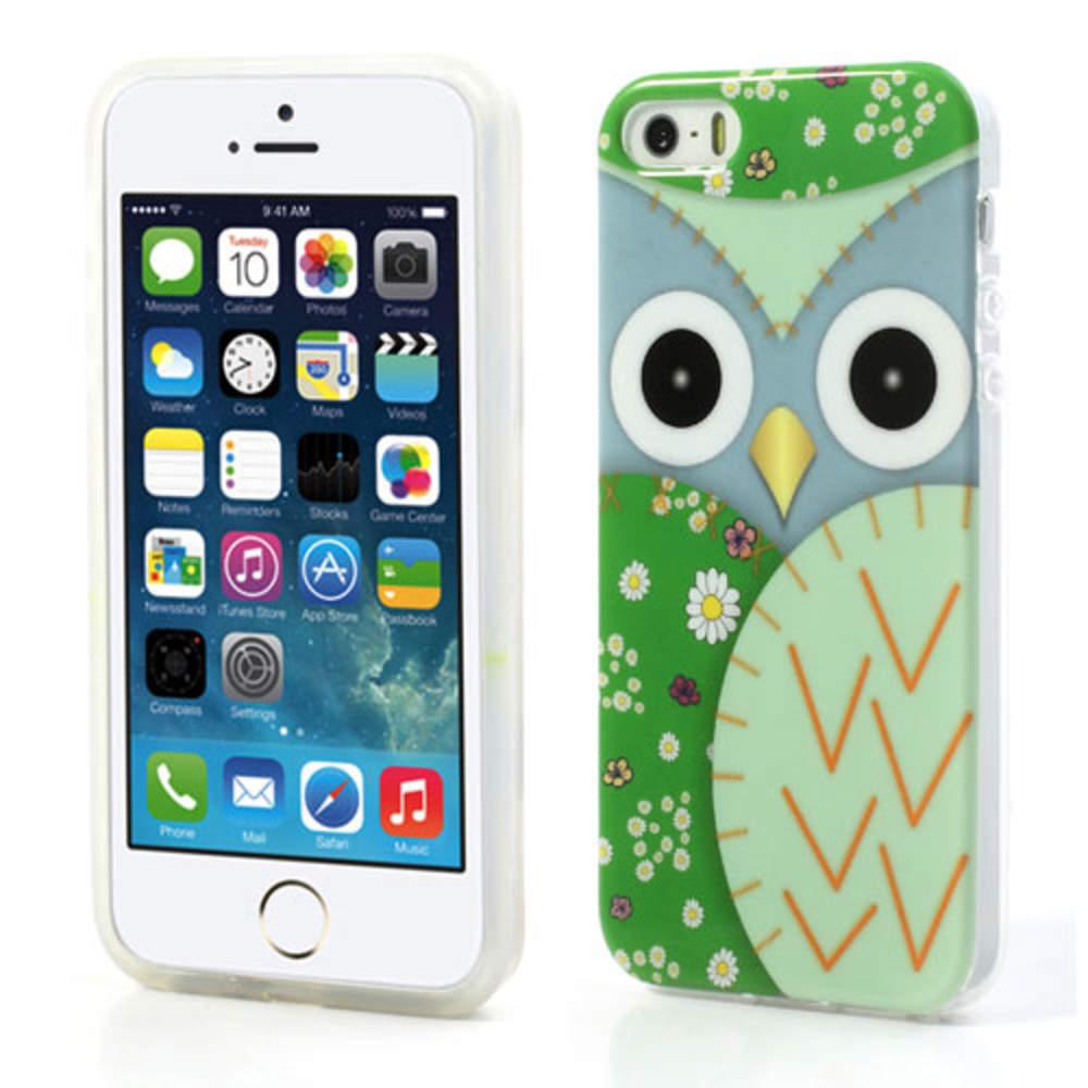 Apple-iPhone-5-5s-TPU-Silikon-Schutz-Huelle-Bumper-Vogel-Eule-Case-Tasche