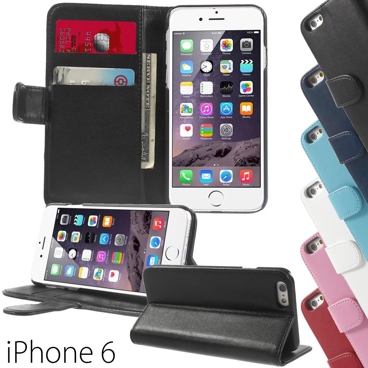 apple iphone 6 6s book style wallet tasche handy h lle case flip cover stand ebay. Black Bedroom Furniture Sets. Home Design Ideas