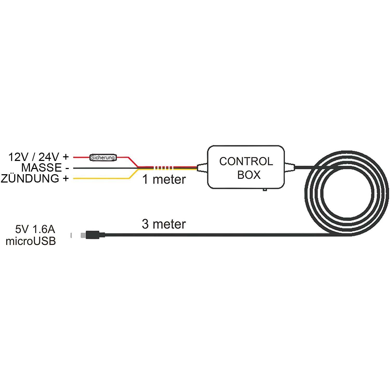 anschlusskabel f r mini dashcam autokamera hardwire kit. Black Bedroom Furniture Sets. Home Design Ideas