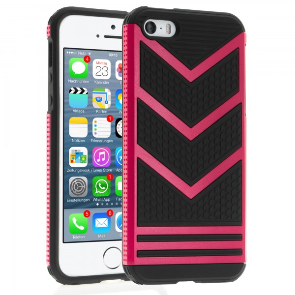 iPhone 5 / 5s Hülle Bumper Case Outdoor Backcover - rotviolett