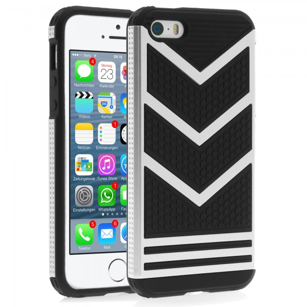 iPhone 5 / 5s Hülle Bumper Case Outdoor Backcover - silber