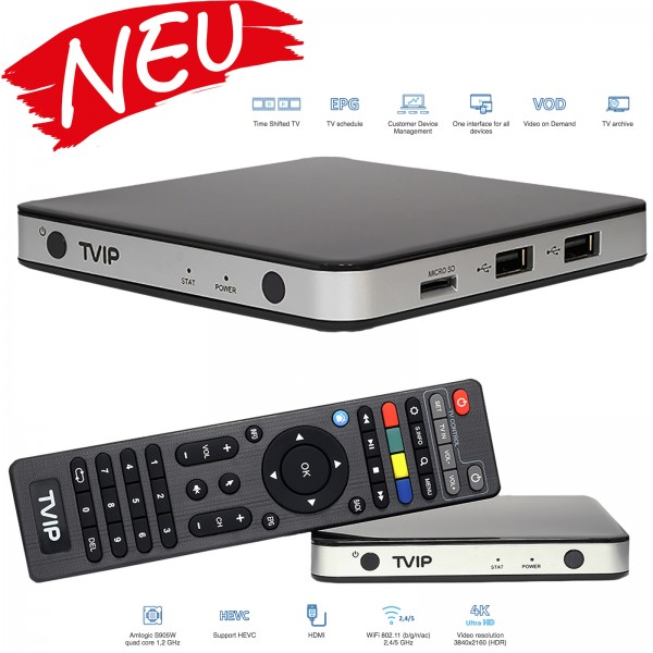 TVIP S-Box v.525 IPTV HD Multimedia Streamer in schwarz