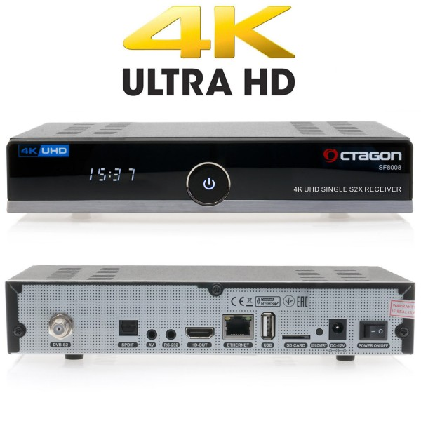 OCTAGON SF8008 4K UHD H.265 E2 Linux Dual Wifi DVB-S2x Single Receiver