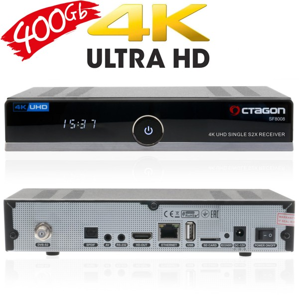 OCTAGON SF8008 4K UHD Single DVB-S2X Sat-Receiver 400GB