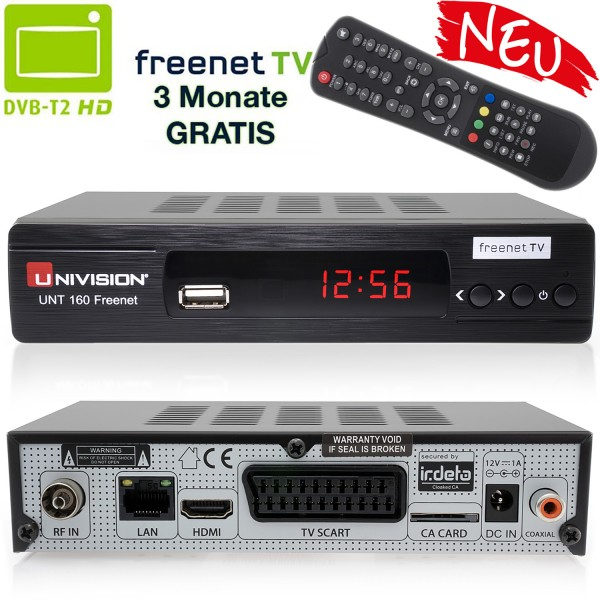 Univision UNT160 Freenet TV digitaler DVB-T2 Receiver DVB-T H.265 in schwarz