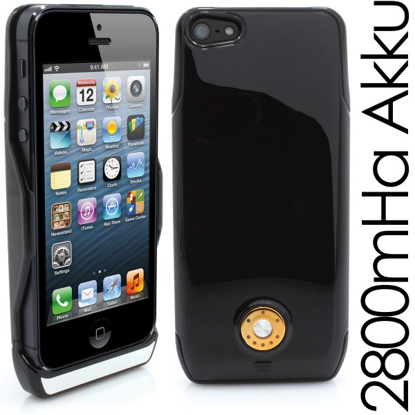 IPhone 5 PowerAkku Cover mit 2800mAh in schwarz