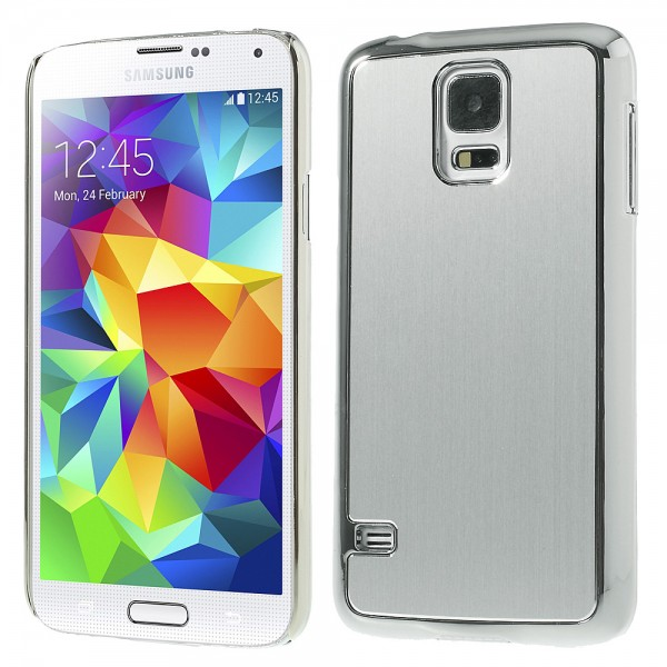 Samsung Galaxy S5 G900 Brushed Aluminum Hülle in Chrome Silber