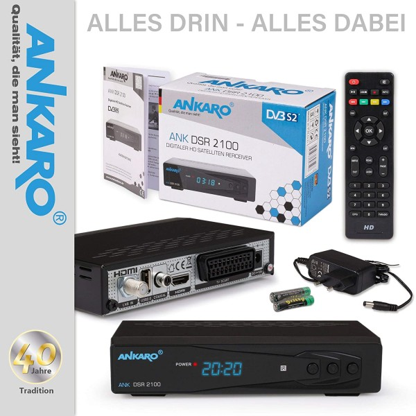 Ankaro DSR 2100 Plus HD HDTV digitaler Satelliten-Receiver (HDTV, DVB-S/S2, SAT, HDMI, SCART, 1x USB