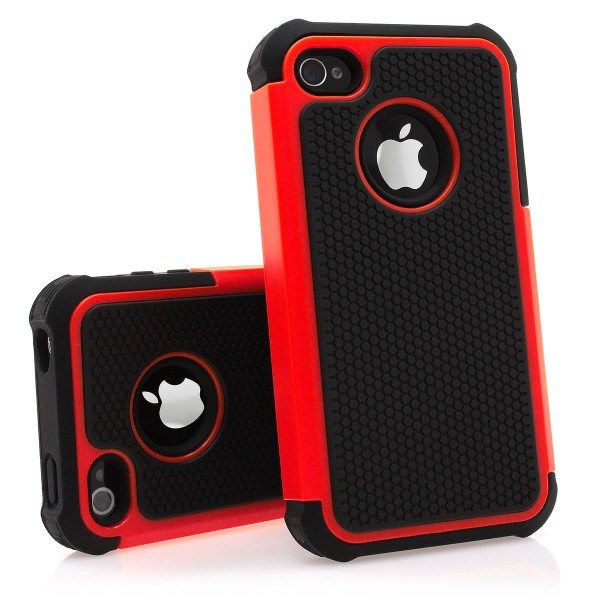 iPhone 4 / 4s Hülle Bumper Case Outdoor Backcover schwarz / rot