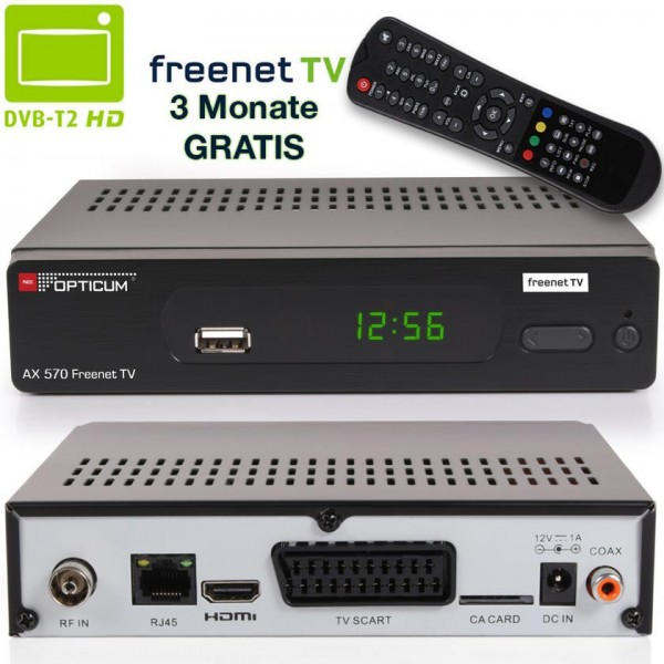 Opticum AX 500 Freenet TV DVB-T2 HD H.265/HEVC Receiver in schwarz