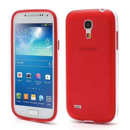 Samsung Galaxy S4 mini Jelly Hülle - weiss / rot